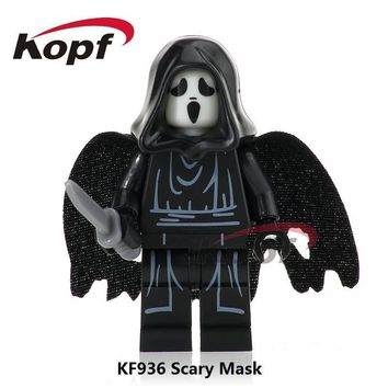Single Sale The Horror Theme Movie Scream Killer Halloween Costume Scary Mask Building Blocks Children Gift Toys KF936