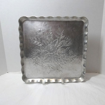 1950s Vintage Aluminum Tray, Hand Forged, Everlast Metal, 11.5 In. Square, Crimped Edges, Hammered Back, Etched Flower Bouquet, Vintage Tray