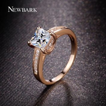 NEWBARK Classic 4 Prongs Rings Paved White Square Cubic Zirconia Engagement Rings For Women Wedding Jewelry