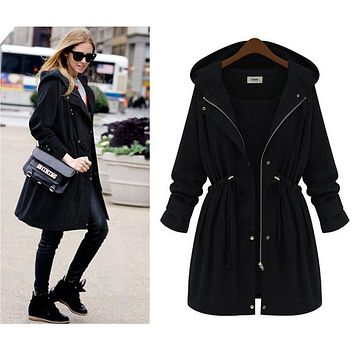 Uwback 2017 Spring Brand Trench Coat Women Adjustable Waist Hooded Cloak Femme Long Windbreaker Coat Mujer Plus Size 4XL OB307