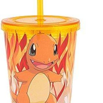 16oz Pokemon Charmander Tumbler Travel Cup GIFT with Lid and Acrylic Straw (BPA-Free)