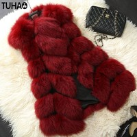 2017 Winter Women faux fur Coat Women's Fox Fur Vest Pocket fashion Faux Fur Coat Leisure Plus Size S-4XL Female Long Vest JG01