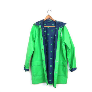 Vintage 80s Green Blue Raincoat BOWS Reversible Vinyl Rain Slicker Jacket Preppy Boho 1980s Spring Coat with Hood Women's Medium
