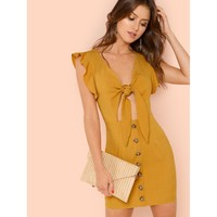 Tie Front Dress with Buttons