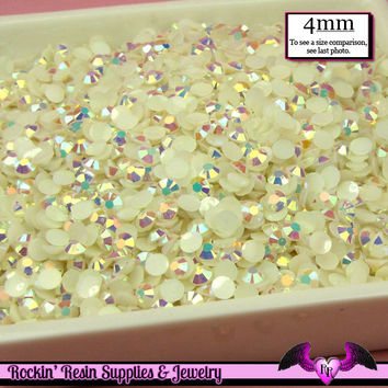 200 pcs 4mm AB Jelly IVORY Decoden Faceted Flatback Rhinestones