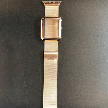 Apple Watch Band 38mm or 42mm Rose Gold Premium Milanese Series 1,2,3 Stainless Steel & 38mm PC Rose Gold Case Cover Bezel Protection