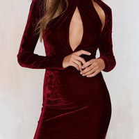 Burgundy High Neck Cut Out mini Dress