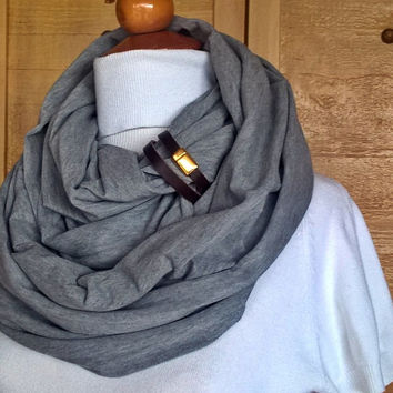 Fashion infinity scarf with leather cuff, infinity scarves,Brown leather cuff,scarves,scarf,womens scarve.accessories