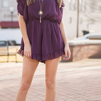 Violet Cold Shoulder Chiffon Romper