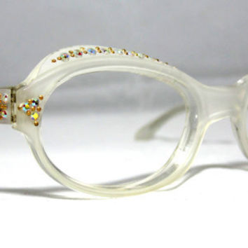 Vintage 50s Cat Eye Glasses. Pearl White with Rhinestones.