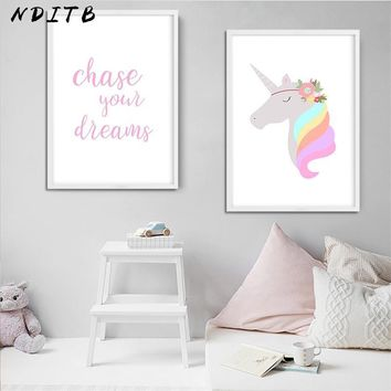 Cute Unicorn Baby Girl Wall Art Canvas Painting Cartoon Nursery Posters Prints Wall Picture for Living Room Baby Bedroom Decor