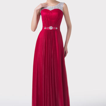 Dark Red Sequins Beaded Ruffles Evening Dress