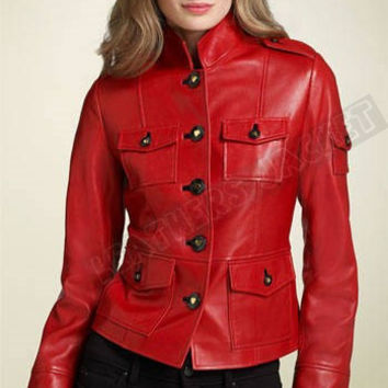 Handmade women Red leather Jacket, women red  biker leather jacket, women's leather jacket