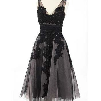 Look Black Pink Tulle Lace Applique Tea Length Party Dress-Vintage Style Dresses