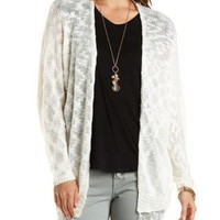 Slub Knit Open Front Cardigan with Crochet by Charlotte Russe