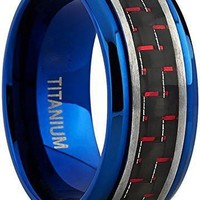 Men's Brushed Blue Titanium Wedding Bands Ring With Black and Red Carbon Fiber Inlay, 9mm Comfort Fit