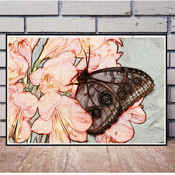Butterfly print Wall art printable Nature print Flowers print Decor baby room Decor kitchen Decor wall art Decor nursery Butterfly wall art