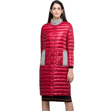 3 Colors Long Light Thin Women's Down Jacket Winter 2017 New Patchwork Stand Collar Covered Button Winter's Coats Female Y2225