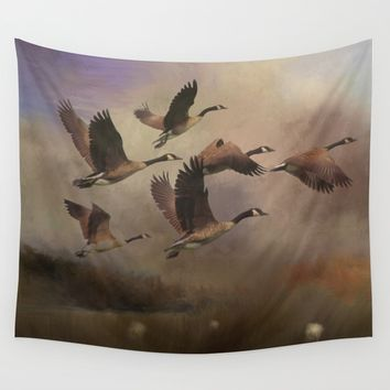 Wild Geese at Dawn Wall Tapestry by Theresa Campbell D'August Art