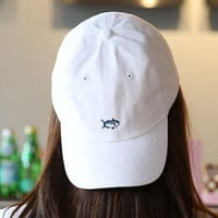 Embroidery Fish Baseball cotton cap