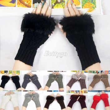 New Women Knitted Crochet Fingerless Gloves Warmer Wrist Hand Faux Rabbit Fur Lady Glove Mittens with 10 Colors