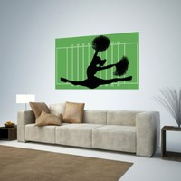 Wallmonkeys WM84563 Football Cheerleader 2 Peel and Stick Wall Decals (48 in W x 34 in H)