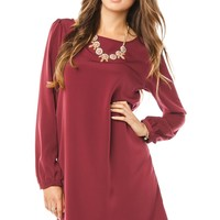 ShopSosie Style : Middleway Shift Dress in Burgundy