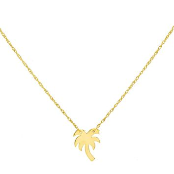Mini Palm Tree Necklace 14K
