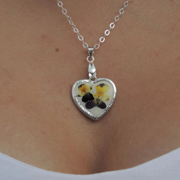 Dried Pansy pendant, Pressed flowers in resin, Silver necklace, Heart charm, Purple flower jewelry