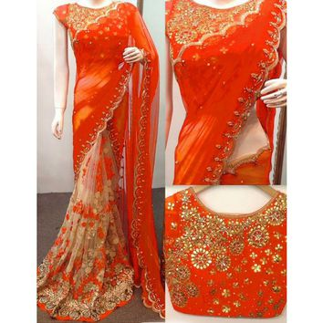 Rs.1950, Buy Online Net Orange & Beige Embroidered Half & Half Saree - ANX199C - Zareennx - Reviews - IndiaRush