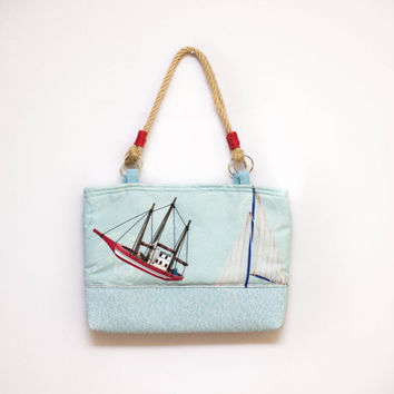 Blue HandBag in Nautical Pattern Made of Vegan Leather, Cotton and Hemp - Light Blue Bag, Summer Handbag, Blue Handbag, One Of a Kind Bag