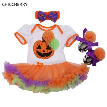 Pumpkin Orange Girls Halloween Outfits Baby Lace Romper Dress Headband Crib Shoes Toddler Tutu Sets Newborn Baby Girl Clothes