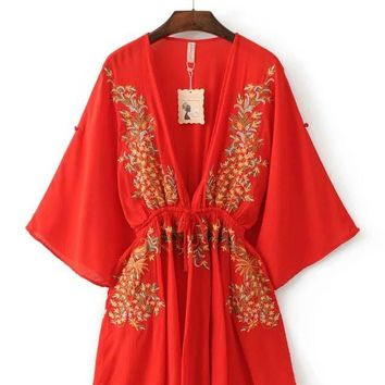 fashion embroidery V collar dress