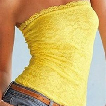 Summer Floral Lace Backless Long Bandeau Strapless Vest Anti Emptied Tube Top Vest