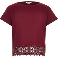 Girls red crochet hem t-shirt - t-shirts - tops - girls