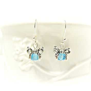 Light Blue Crystal Bow Earrings