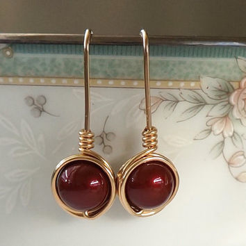 Swarovski Elegant Burgundy Pearl Earings, Wire Wrapped Jewelry Handmade, Pearl Earrings, Burgundy Gold Drop Earrings