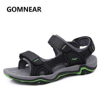 GOMNEAR New Summer Sandals For Men Genuine Leather Sneakers Breathable Quick Dry Outdoor Soft Rubber Beach Shoes Size 39-44
