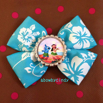 Disney Lilo & Stitch / Hawaii / Aloha ribbon blue bottle cap hair bow clip