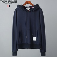 Thom Browne autumn and winter new tide brand bottoming sweater loose hooded hoodie sweater Blue