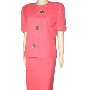"New Vintage 50s 60s JACKIE O Rose CORAL Thai Silk and Linen Shantung Skirt Suit 12 - ""Ladies who Lunch"""