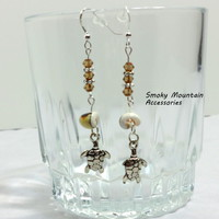 #Topaz #Swarovski Crystal #Dangle #Earrings with #Shell beads and #Turtle Charms