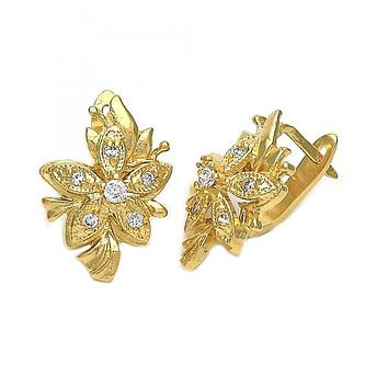 Gold Layered 02.21.0247 Leverback Earring, Flower Design, with Dark Champagne Cubic Zirconia, Polished Finish, Gold Tone