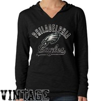 '47 Brand Philadelphia Eagles Ladies Primetime Long Sleeve Hooded Premium T-Shirt - Black