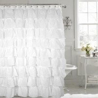 Gypsy White Shabby Chic Ruffled Fabric Shower Curtain - BedBathHome.Com