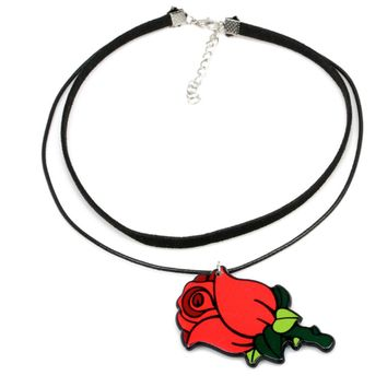 New Fashion Acrylic Rose Romantic Necklace Red Flowers Cute Charming Choker Leather Cord Necklace Woman Fashion Jewelry