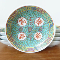 Eight vintage pale green Mun Shou Longevity sauce dishes, Asian sauce dishes