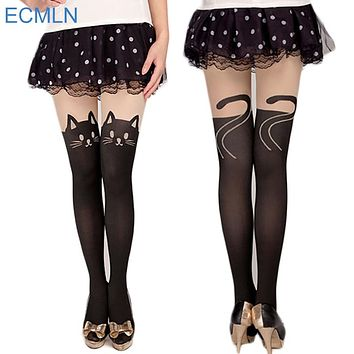 New Sexy Girl's Pantyhose Design Pattern Printed Tattoo Stockings Cat shape 4 Style Sheer Pantyhose Mock Stockings Tights
