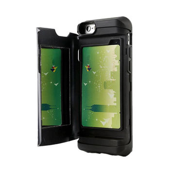 IPHONE 5/5S MIRROR & WALLET CASE BLACK