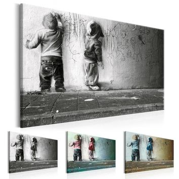 Boys Scrawl Wall Art Sparring (NO Frame) Canvas Prints Banksy Graffiti Canvas Wall Art for Wall Decor Abstract